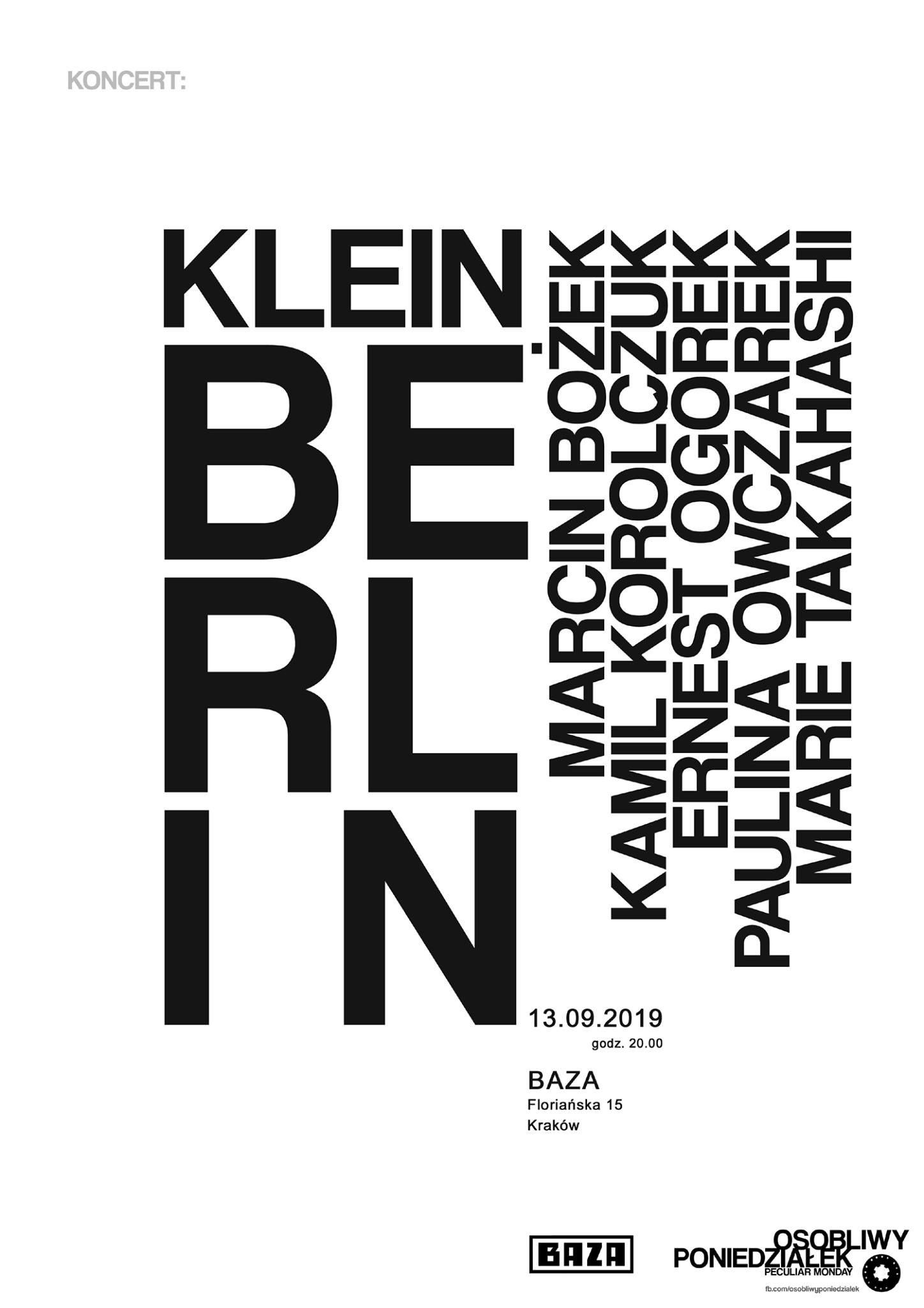 KLEIN BERLIN Kraków Baza 13.09.2019 20:00